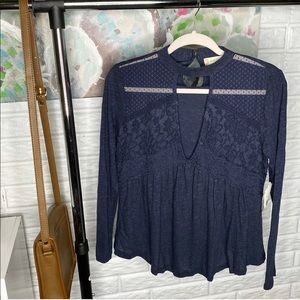 Altar'd State Navy Polka Dot Lace Blouse Top